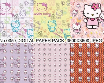 Digital Paper Pack - Hello Kitty, Scrapbook Paper,