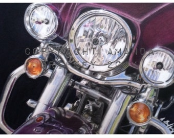 "Harley Davidson Motorcycle Art ""Chrome and Lights"""
