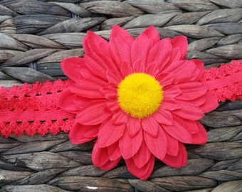 Red daisy on red lace headband-RTS
