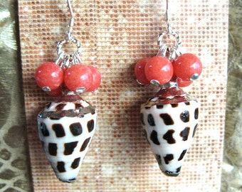 SE-709 Coral Tiger Shell Earrings