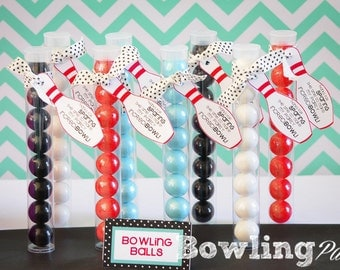 Bowling Party Favor-INSTANT DOWNLOAD - Red