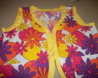 HOT 60s 70s FLOWER POWER Vest, even with a Bow in Back, Med Lg