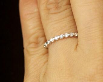 White Gold Diamond Wedding Band, Single Shared Prong Setting with Closed Baskets, 0.20tcw, Stacking Ring, Customizable, Petite Brooke