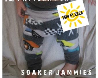 PDF Pattern // Soaker Jammies // Diaper Cover // Fleece Longies // Fleece Diaper Cover // Wool Longies Pattern, Sizes 1-6