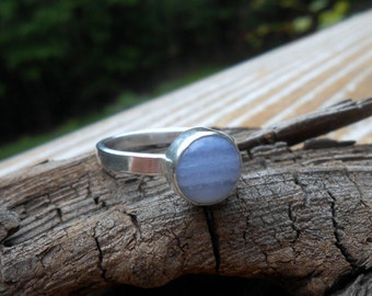 Sterling Silver Ring, Blue Lace Agate Ring, Silver Ring, Silver Band,  Size 7 Ring, Stacking Ring, Gemstone Ring, Blue Stone Ring