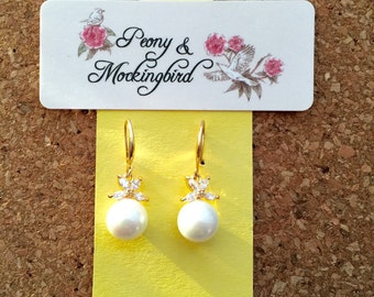 Pearl and crystal gold plated dangle/ drop earrings