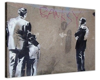 """Banksy Art Critic Stencil Wall Mural On Canvas Pictures Wall Art Prints Photos Framed Poster Graffiti Artwork Size: 30"""" X 20"""" (76CM X 50CM)"""