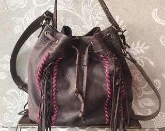 Brown bucket bag, medium size leather bag, crossbody purse, fringes bag