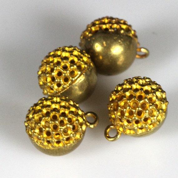 "2 pcs raw brass 10 mm 3/8"" ball pendant finding"