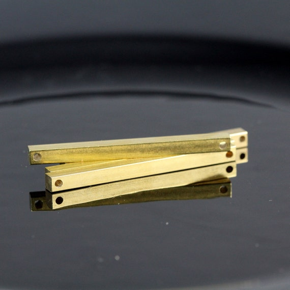 """6 pcs connector 4 x 60 mm 0,16"""" x 2,25""""  raw brass square stamping bar  finding square rod (2 mm 5/64"""" 12 gauge hole ) sbl460-1095W"""