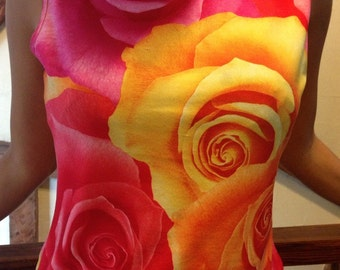 Vintage pink and orangle roses tank top