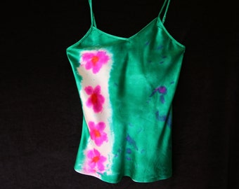 Poppy Field - Handpainted Silk Charmeuse Camisole (Small)