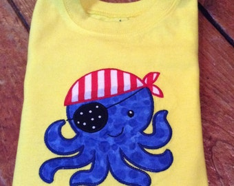 Octopus Pirate Appliqued T-shirt