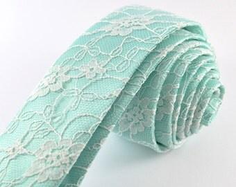 Mint Tie, Mint Lace Necktie, Mint Wedding, Mint to Be, Lace Tie, Mint Green Necktie, Summer Wedding Tie, Men's Tie, Women's Tie, Skinny Tie