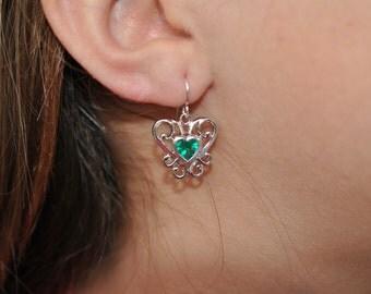 Lab Created Emerald Filigree Earrings