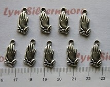30 pcs a pkg 15x4mm Pray Hand  Charm Antique Silver Lead Free Pewter