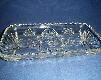 Vintage Pressed Glass Relish Tray inv1191