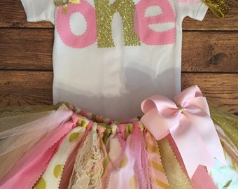 "Light Pink, Pale Pink, Ivory, and Gold 1st Birthday ""One"" Polka Dots and Chevron Scrap Fabric Tutu Outfit"