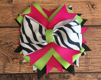 Hot pink, lime green, and zebra hair bow