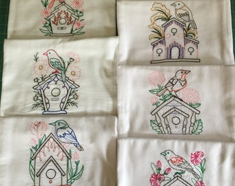 Birdhouses Machine Embroidered Flour Sack Dish Towel Set (7 Towels)