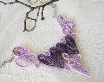 Paper Necklace Valentines Day Heart Purple Necklace Paper Anniversary and Wedding Gift  Heart Jewelry  purple jewelry Bridesmaid Gift