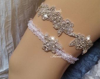 Wedding garter set / Bridal /Clear Rhinestone Garter/ Rhinestone Garter/ wedding garters / bridal garter/ lace garter / Vintage Garter