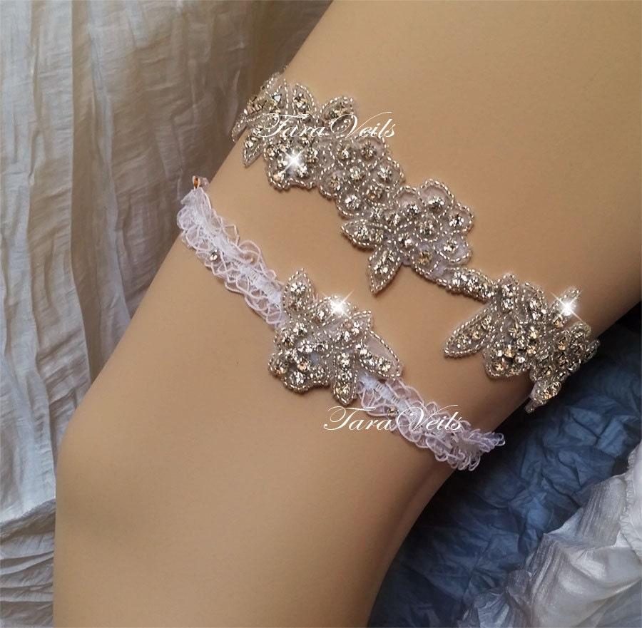 Wedding Garter Set / Bridal /Clear Rhinestone Garter/