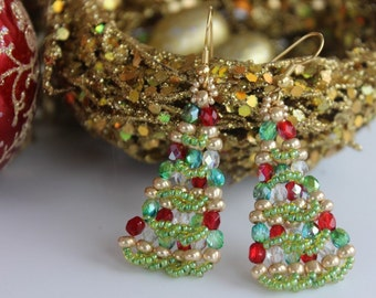 PDF tutorial christmas_tree_beaded_earrings - seed beads_ pettarn