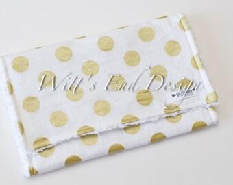 Modern Gender Neutral Burp Cloth MIX & MATCH-Super Absorbent Cotton Chenille-Metallic Gold Dots