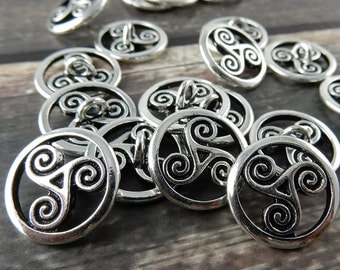 OPEN TRISKELE Buttons, TierraCast CELTIC Buttons, 16mm Qty 4 to 20 Antique Silver, Round Tri Swirl Metal Buttons, Leather Wrap Clasps