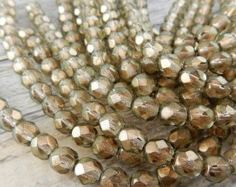 HALO LINEN 6mm Faceted Round Czech Glass Beads Qty 25 or 50 Fire Polished, Gorgeous Light Tan Brown Topaz with Soft Shimmery Gold Highlights