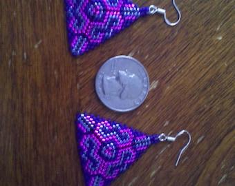 fuchsia cobalt and cornflower earrings