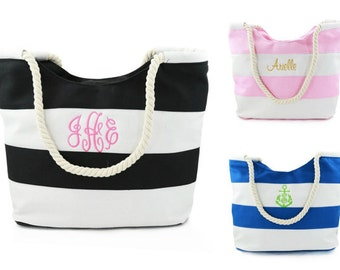 Monogrammed Striped Canvas Tote