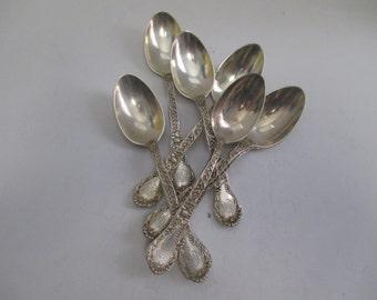 """Vintage Monogrammed Sterling Silver Meadow 1897"""" by Gorham Tea Spoons - 8."""