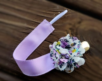 Solid Colored Monogrammed Pacifier Clip and Holder with Flower of Your Choice
