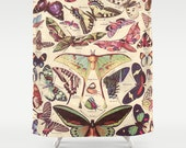 Butterfly fabric Shower Curtain - Luna Moth, Butterflies , unique, botanical illustrations, retro, earth tone, casual, decor, home