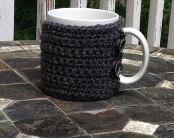 Cup Cozy Crocheted in Grey Wool