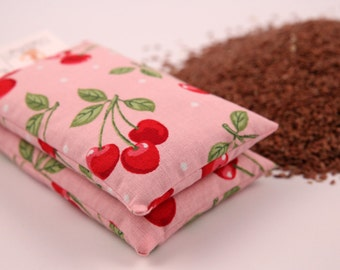 Organic Flax Seed Cold and Heat Packs - Set of 2 in Pink Cherries Print