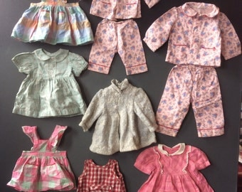 Vintage 40's Dead stock Doll's clothing Lot of 8 various garments and sizes Made in France