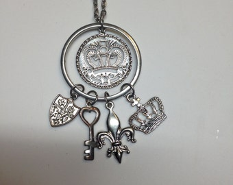 Medievel crown double stranded necklace