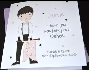 Personalised Handmade Best Man Usher Wedding Thank You Card