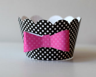 Bow cupcake wrappers, black and pink party cupcake wrappers