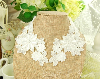 1 Pair Lace Collar Applique White Large Flower Wedding