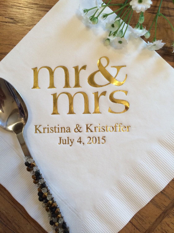 100 personalized mr  u0026 mrs mr and mrs wedding napkins custom monogram beverage luncheon dinner