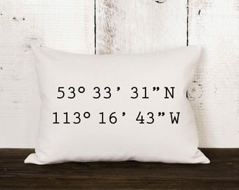 "Housewarming gift pillow ""The Coordinate Pillow""  latitude and longitude pillow, graduation gift, wedding gift, coordinates pillow, linen"