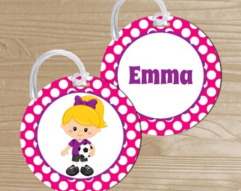 Personalized Bag Tag - Soccer Backpack Name Tag - Soccer Bag Tag - Girl Soccer Bag Name Tag - Round Bag Tag - Kids' Luggage Tag