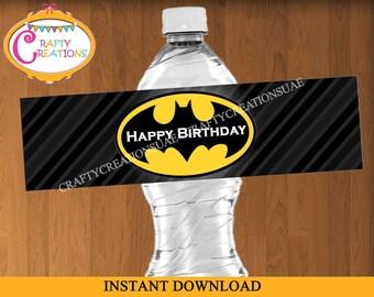 Batman Water Bottle Labels - Batman Waterbottle Labels - Superheroes Labels - Boy Theme - PRINTABLE - INSTANT DOWNLOAD - CraftyCreationsUAE