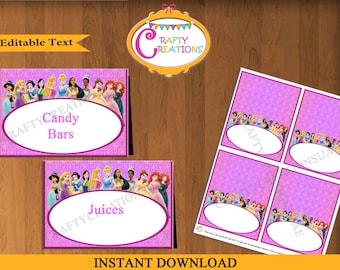 Disney Princess Food Tent Cards - Disney Princesses Food Labels - Princess Birthday Party - EDITABLE TEXT - Printable - Instant Download