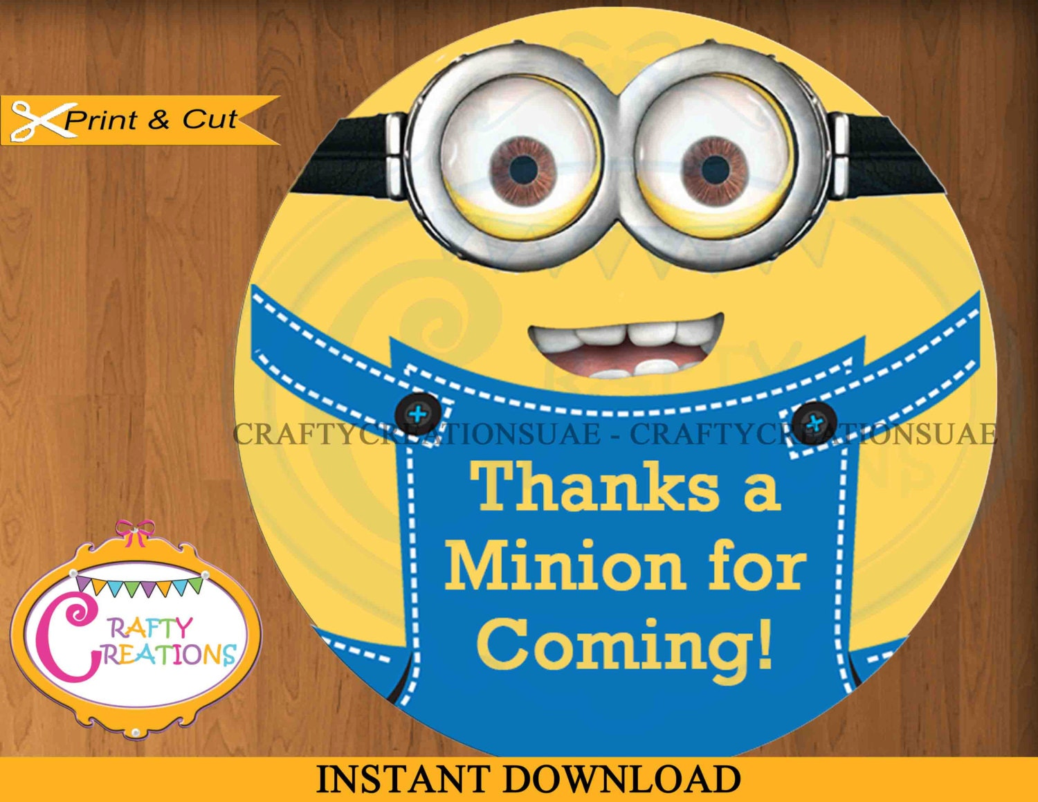 Despicable Me Minions Favor Tags Sticker Party Tags