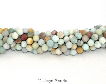 10mm Multicoloured Frosted Amazonite Round Beads